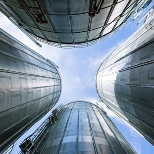 low angle of industry stainless steel storage tanks