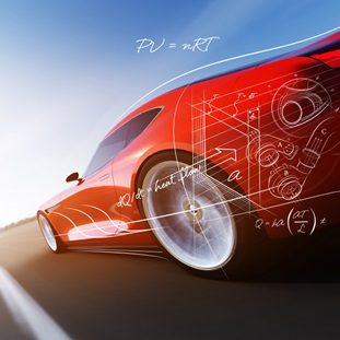 rear left side of red sportscar with engineering details
