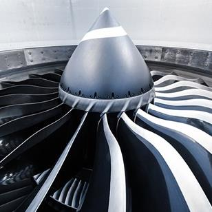 low angle view of airplane jet engine