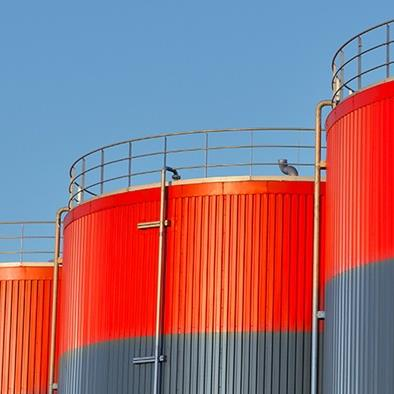 outdoor view of large storage tanks